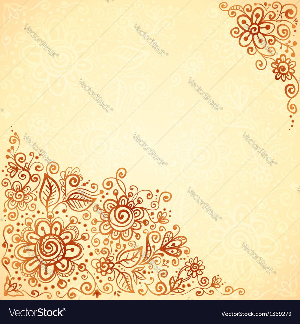 Henna Colors Flourish Artistic Background Vector Image