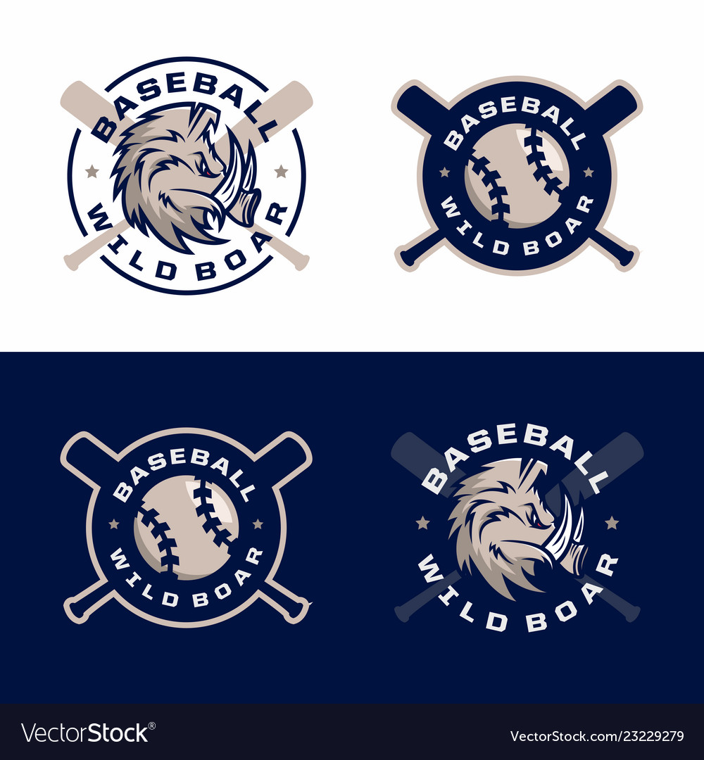 Modern professional emblems set for baseball game