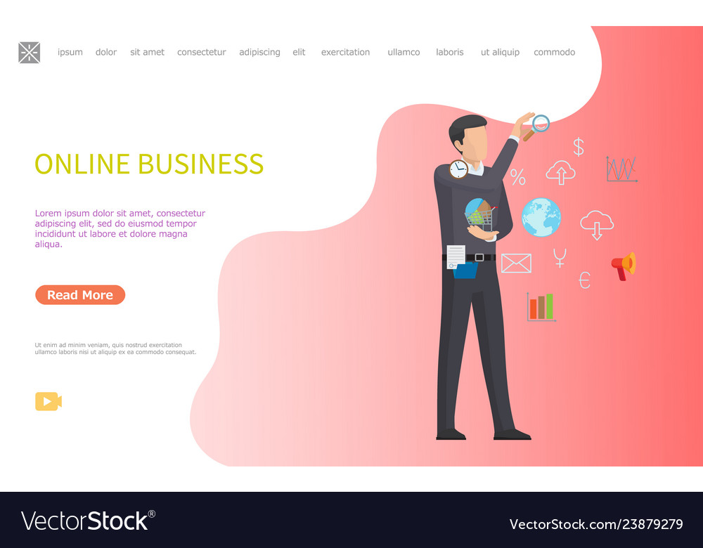 Online business web poster man and line art icons
