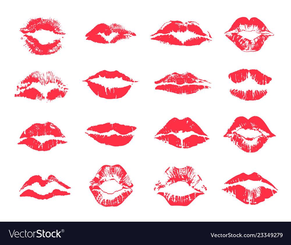 Red female lips print lipstick mark set