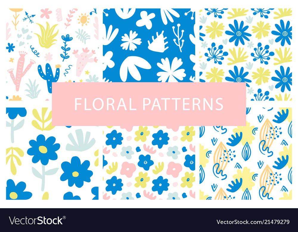 Set of hand drawn colorful floral repeat patterns