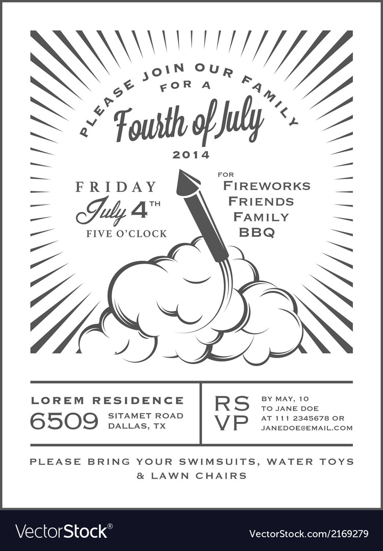 Vintage 4th of July Independence Day invitation vector image