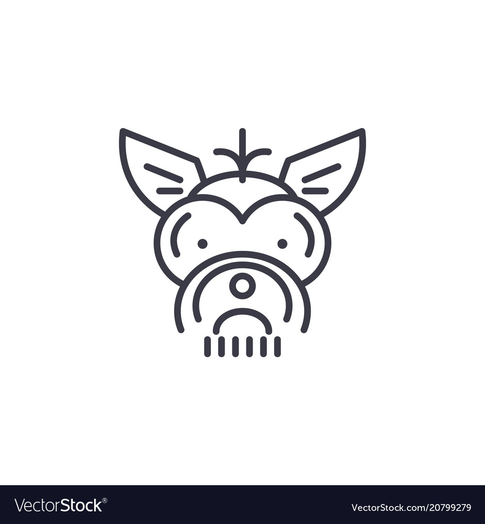 Yorkshire terrier line icon sig