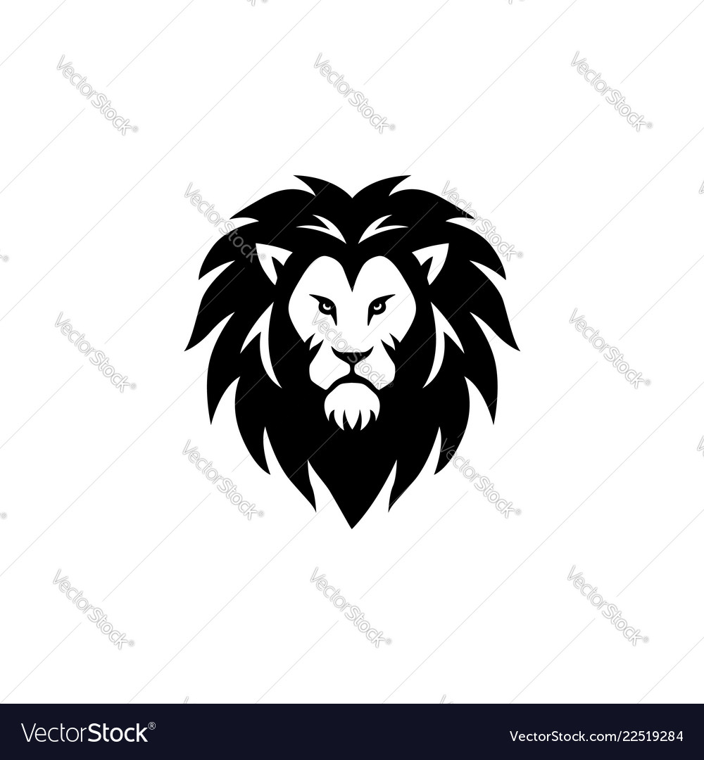 Angry lion head black and white logo sign