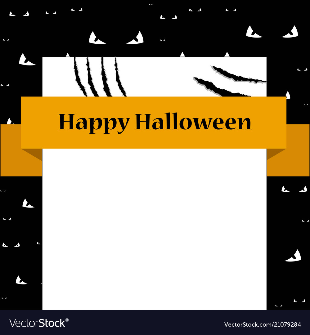 Bank sign card with scratches halloween template