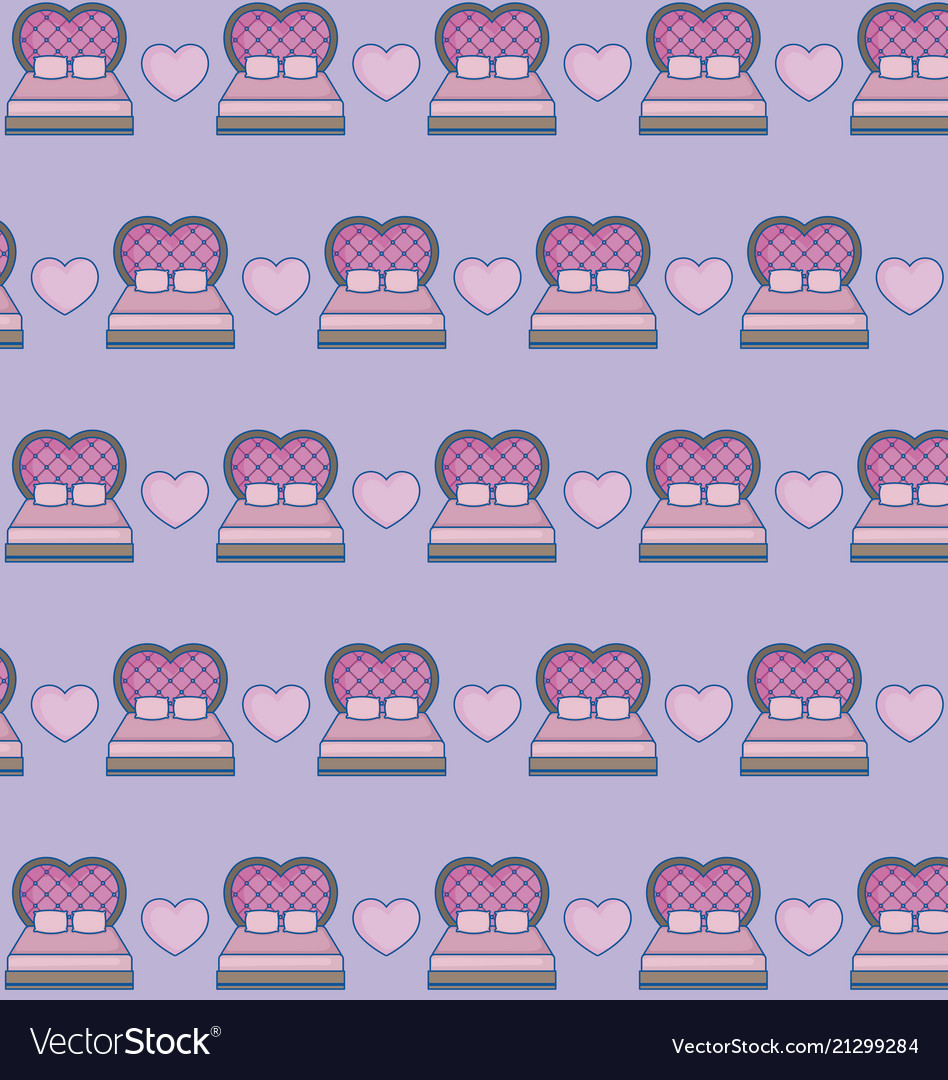 Bed and hearts background