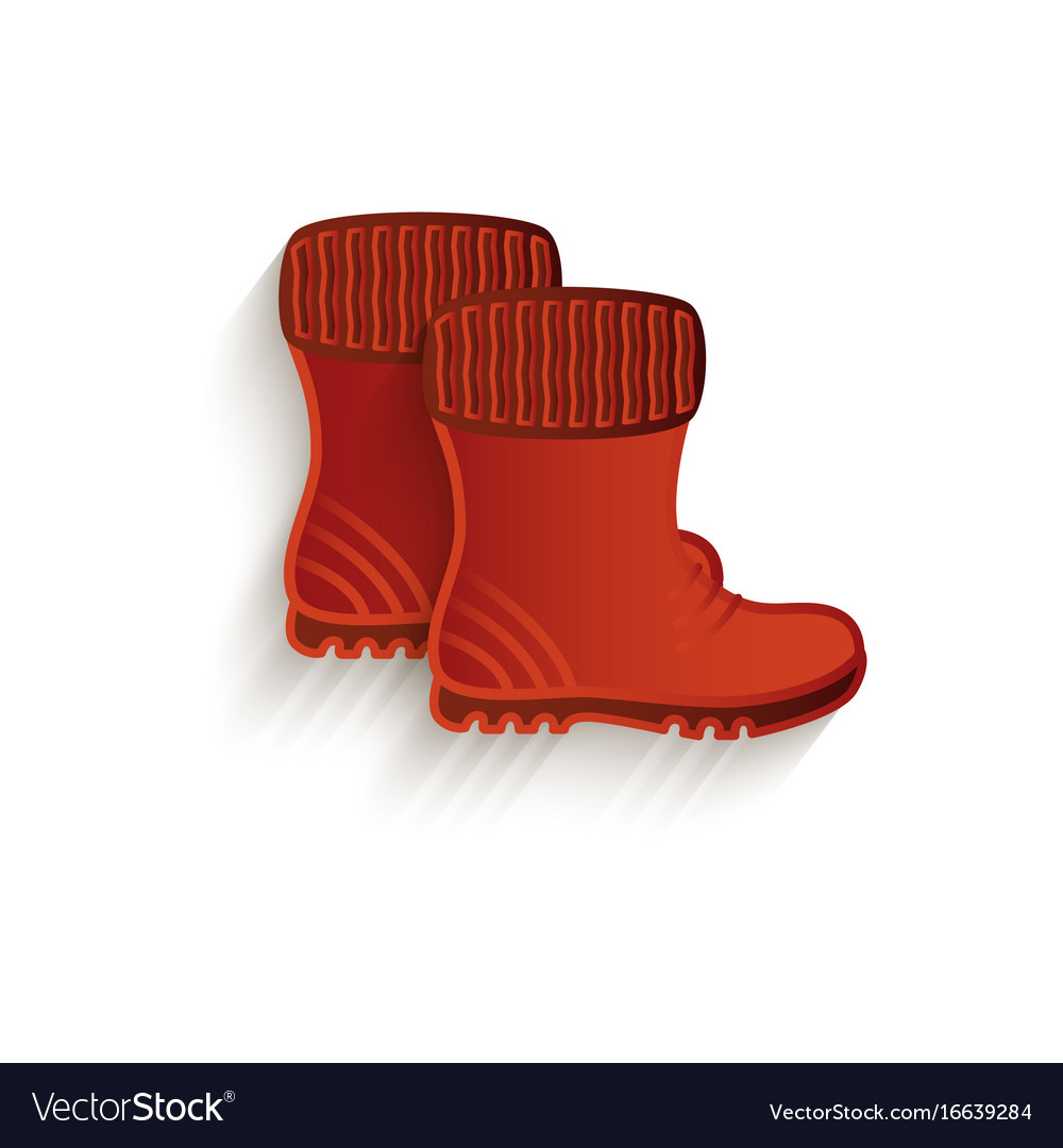 Cartoon brown rubber boots isolated