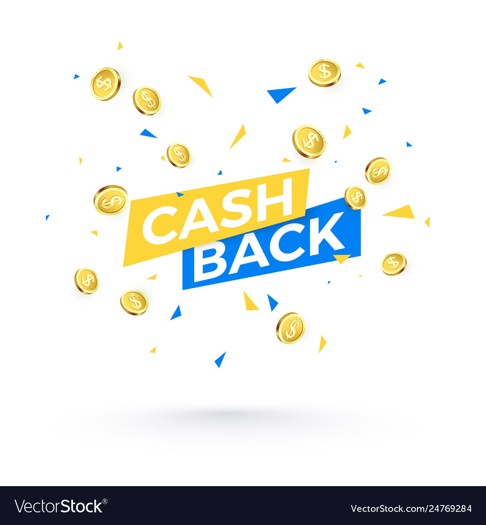 Cashback banner concept cashback text and falling vector