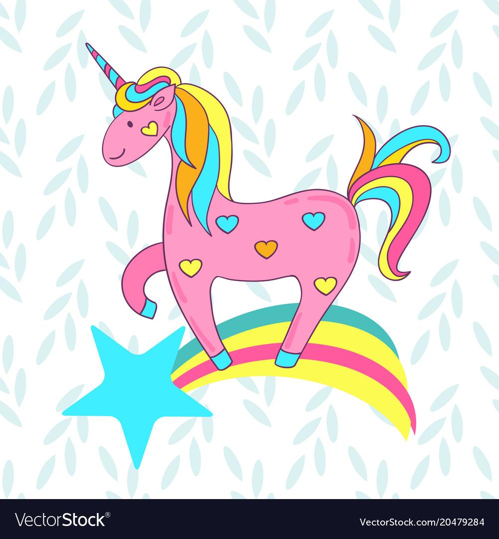 Cute Card With A Cartoon Unicorn On Rainbow Vector Image