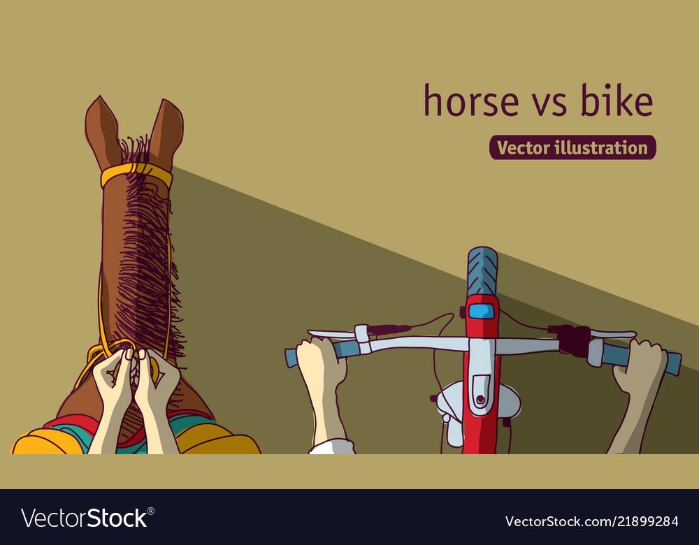 Horse vs bike top view