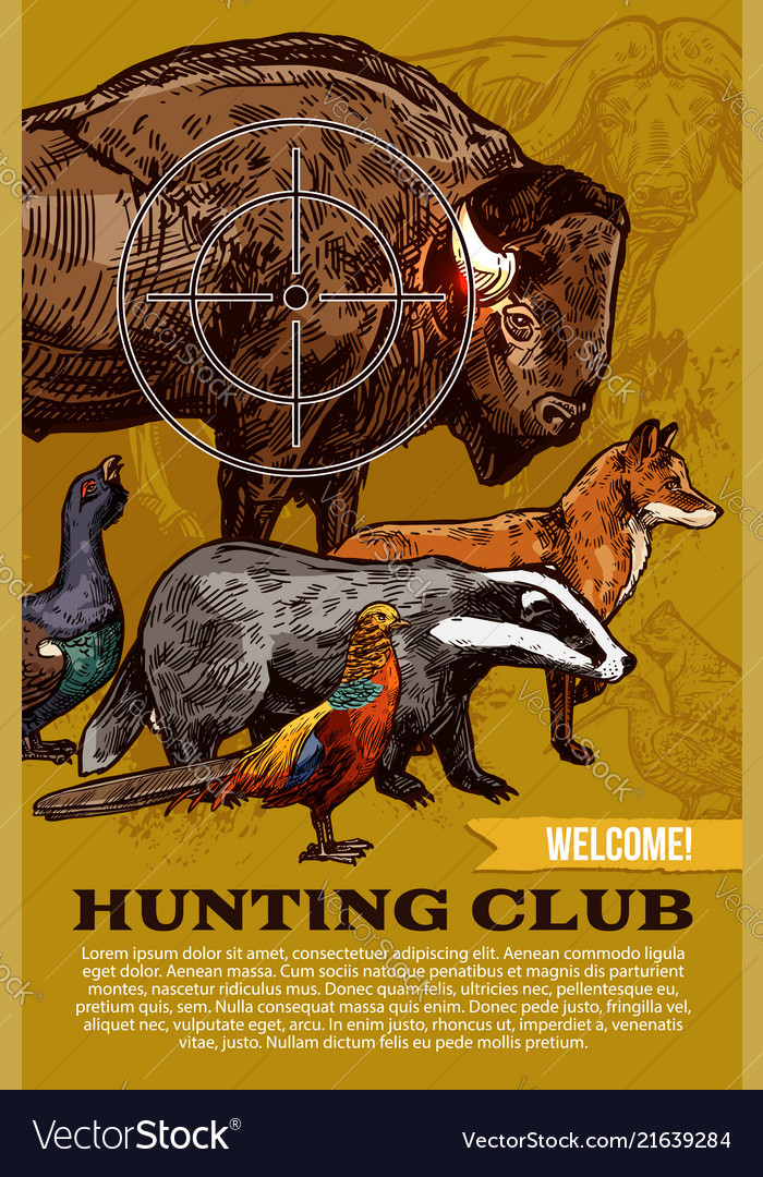 Hunting club wild animals and birds poster