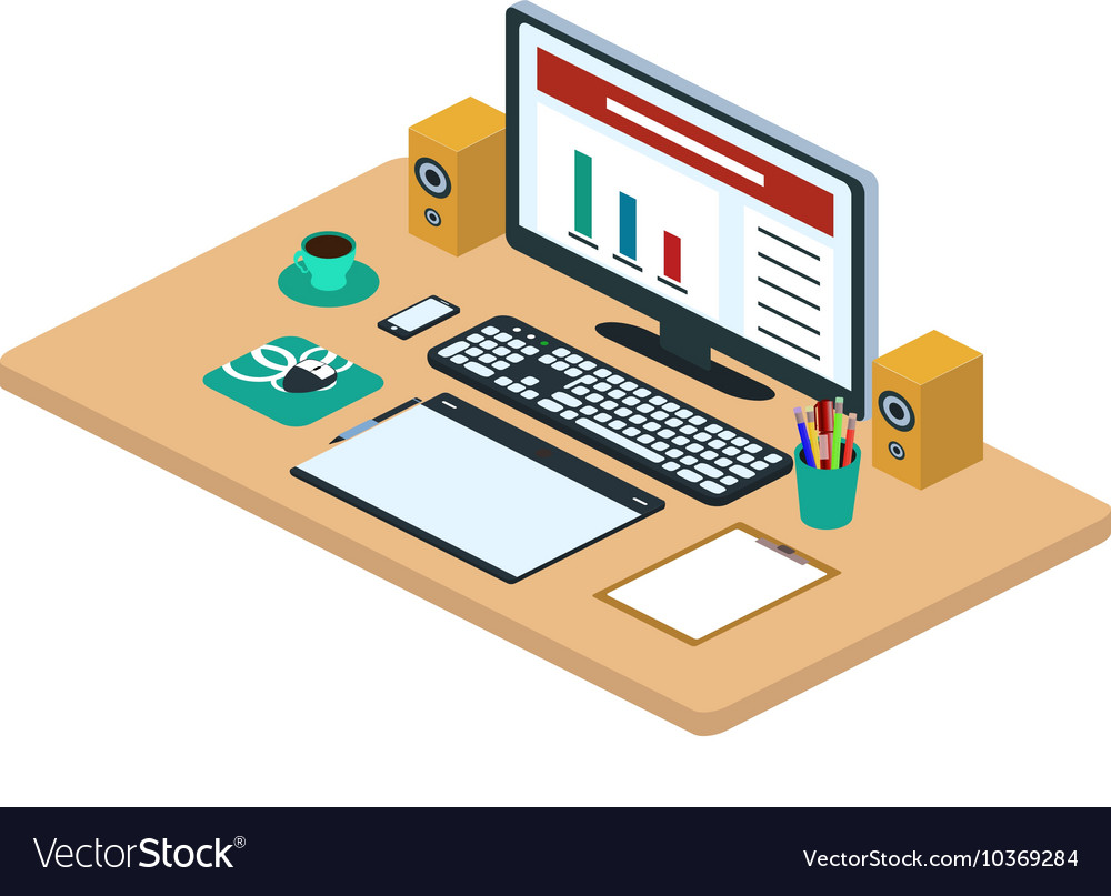 Modern creative office workspace vector image
