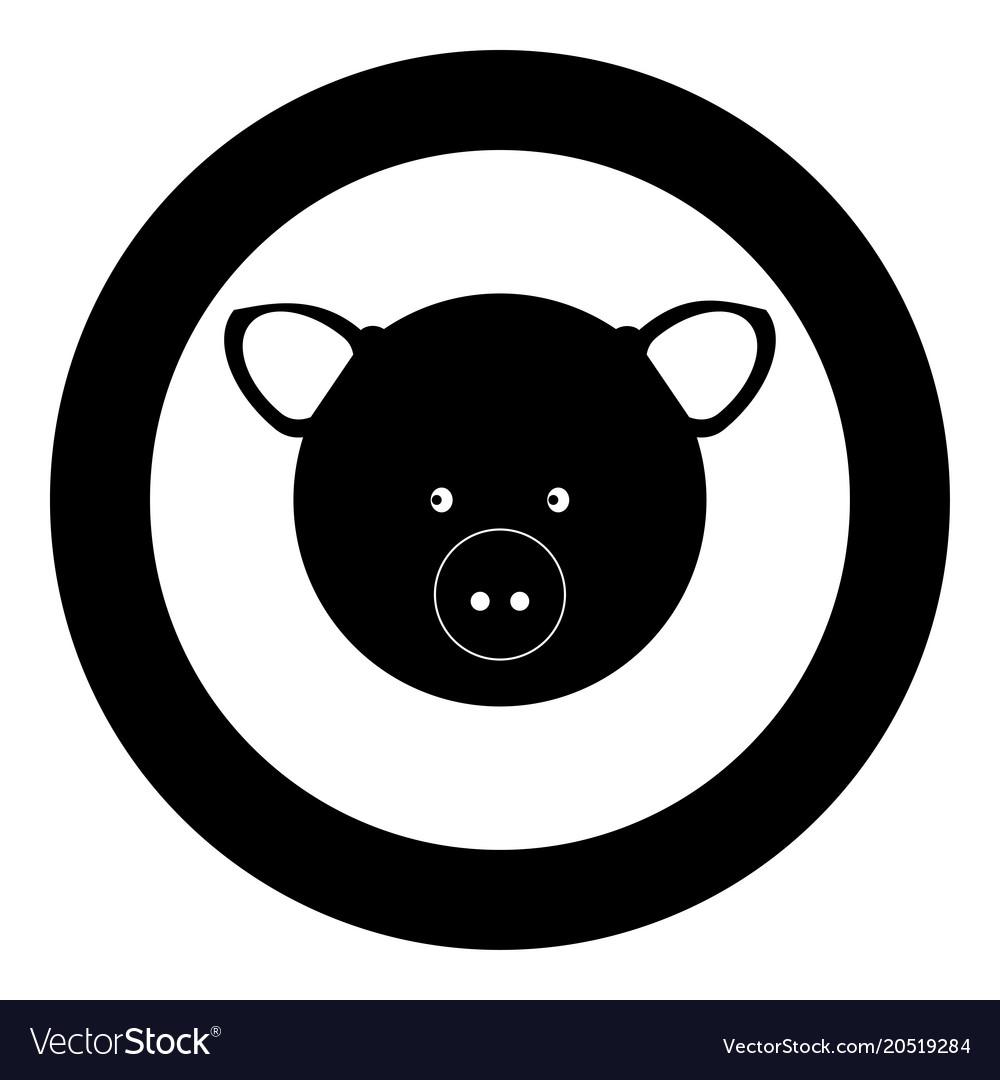Pig head icon black color in circle