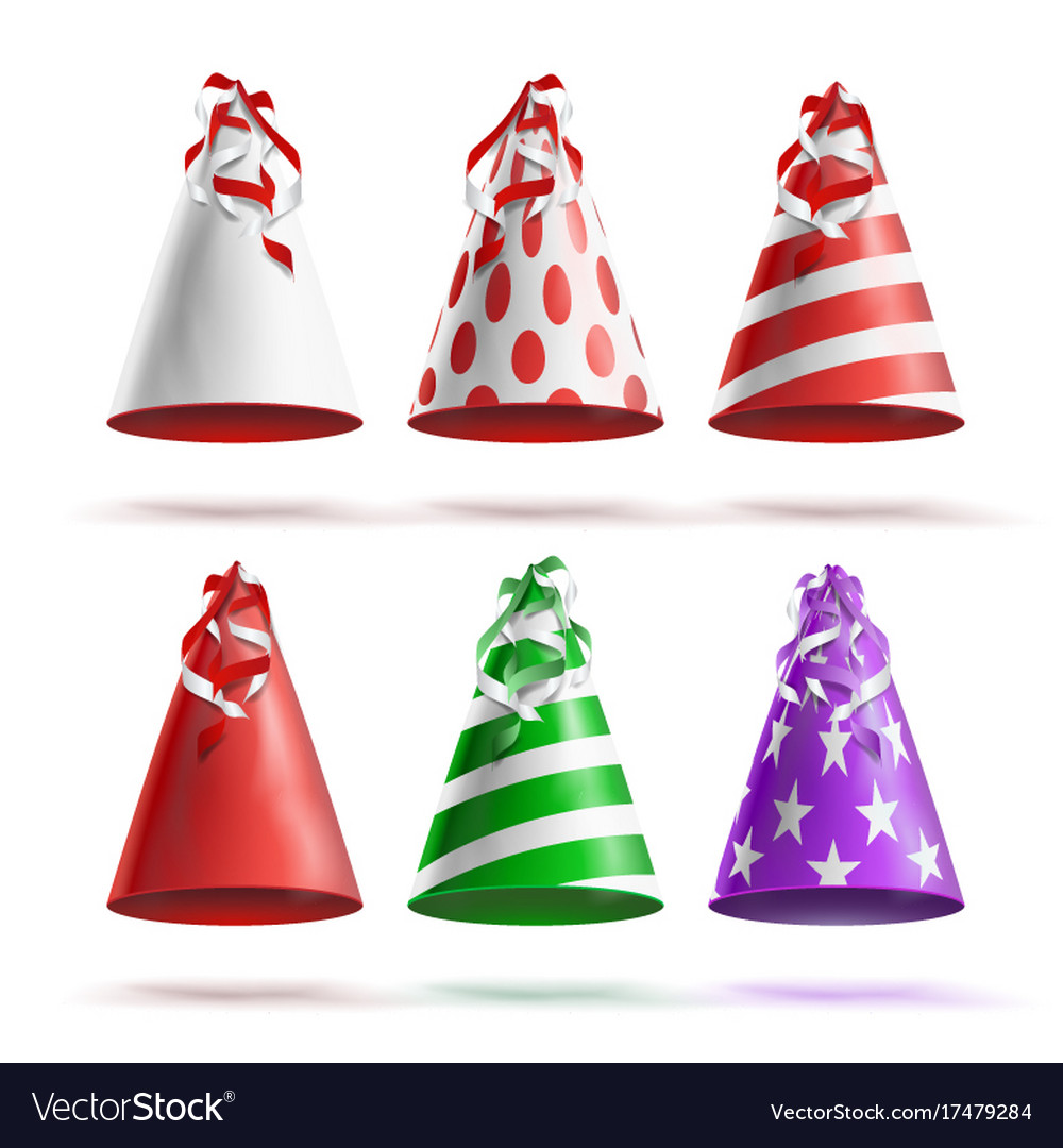 Realistic party hat set celebrations vector image