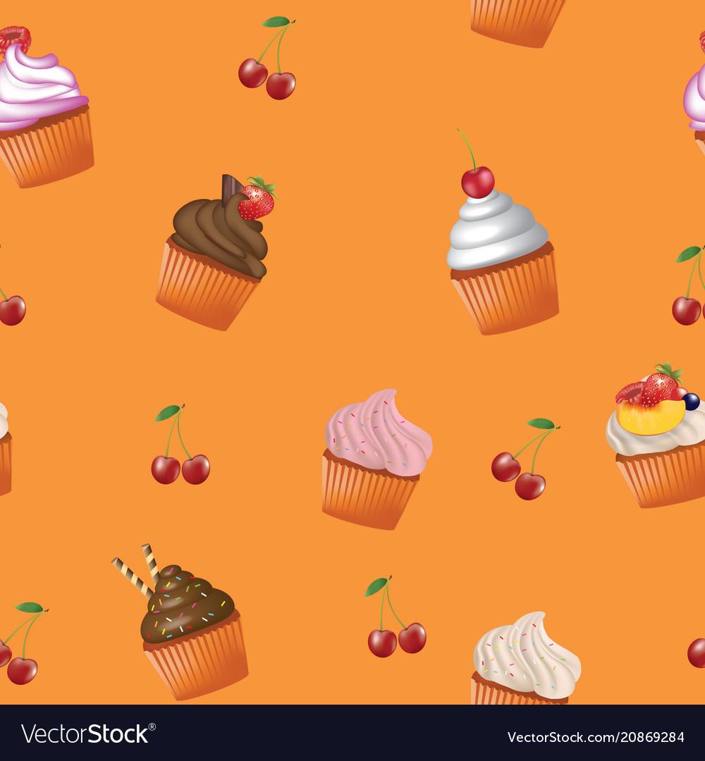 Seamless cupcakes pattern
