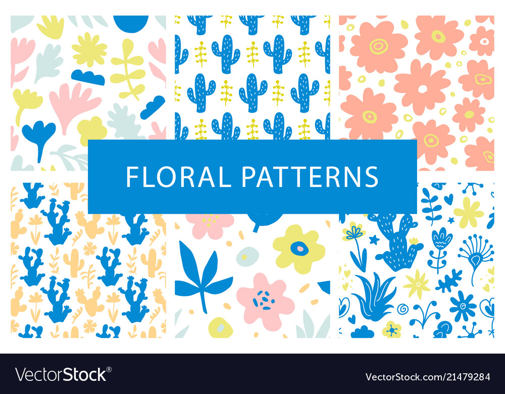 Set hand drawn colorful floral repeat patterns vector