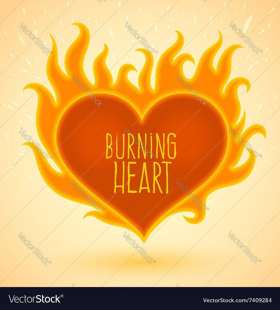 Symbol of burning heart with