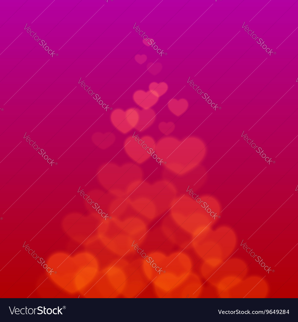 Valentines Day ribbon with scattered bokeh hearts vector image