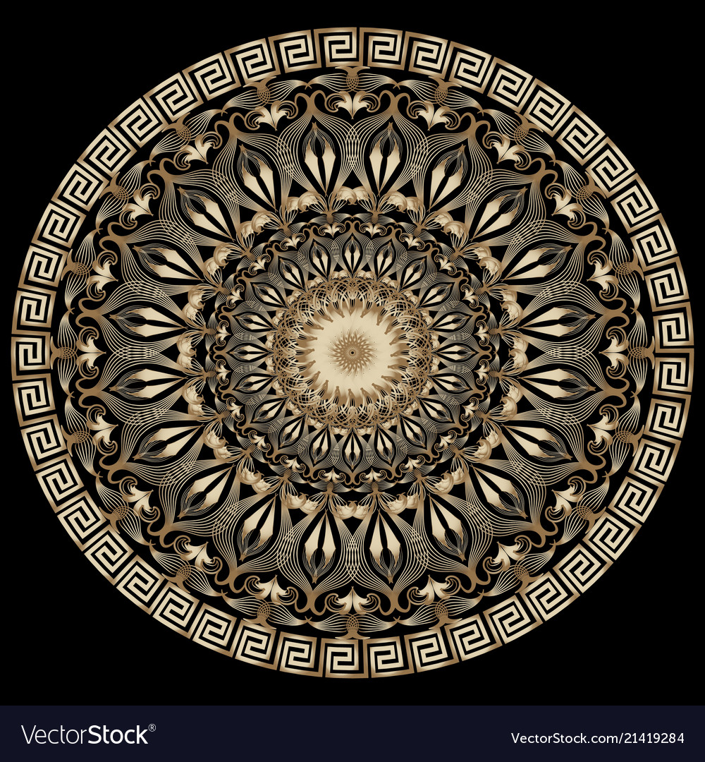 Vintage floral greek 3d mandala pattern