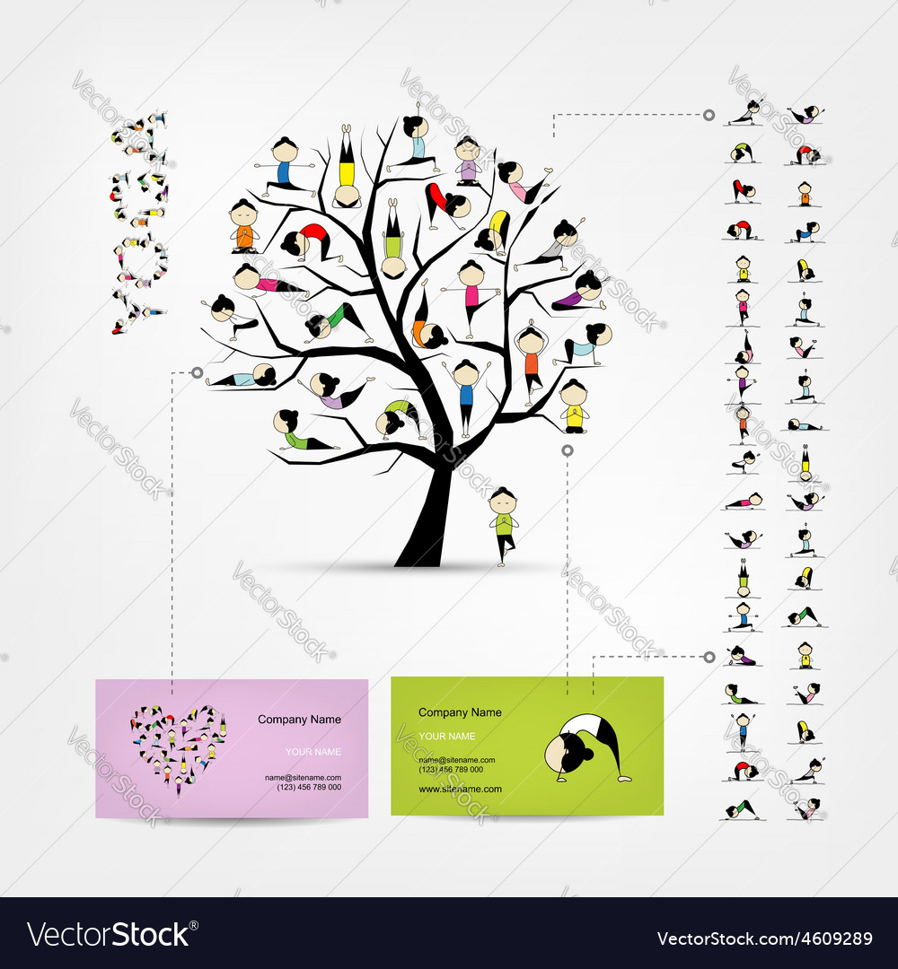 Business cards design yoga tree royalty free vector image business cards design yoga tree vector image reheart