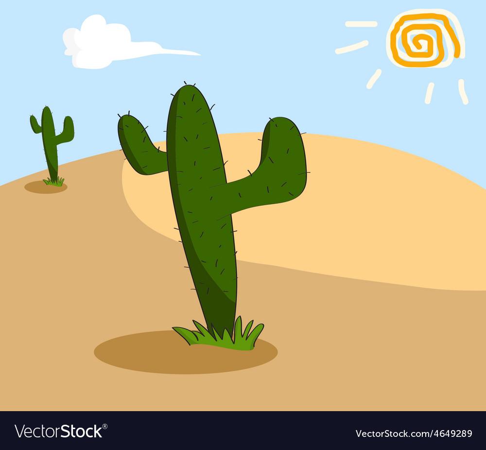 Cactus grows in the arid desert