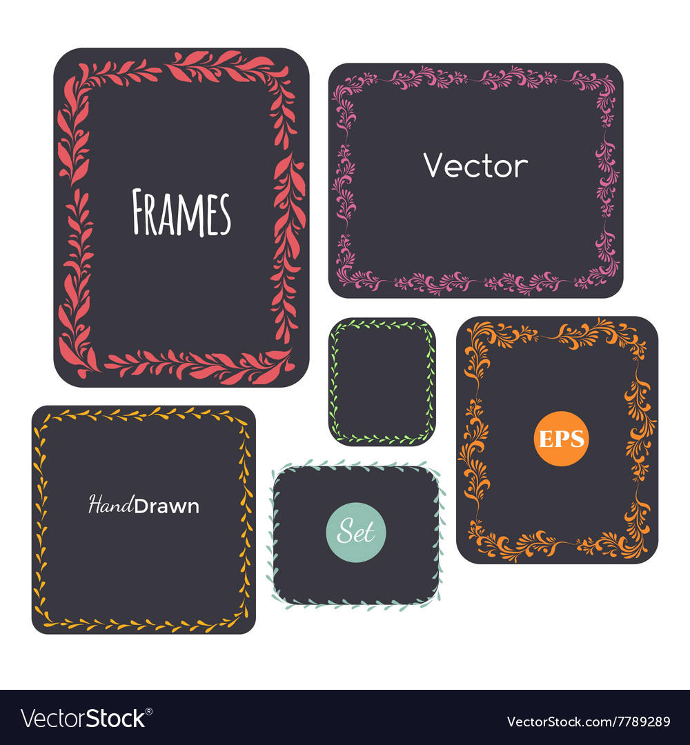 Color hand drawn frames set elements