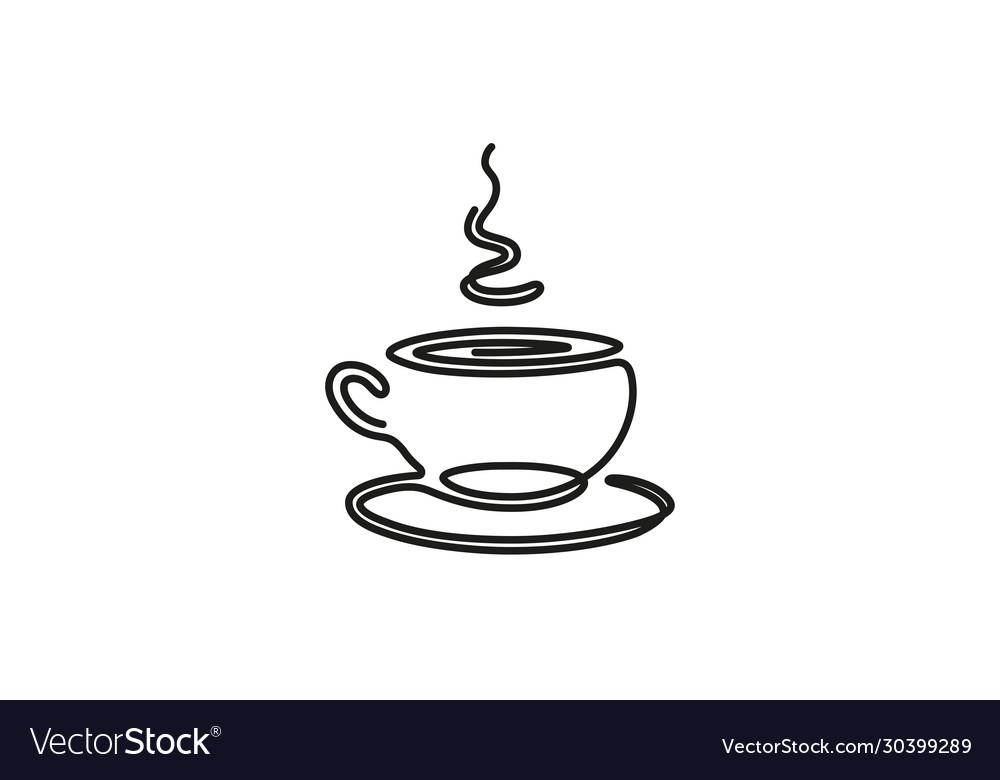 Creative black coffee mug lines logo