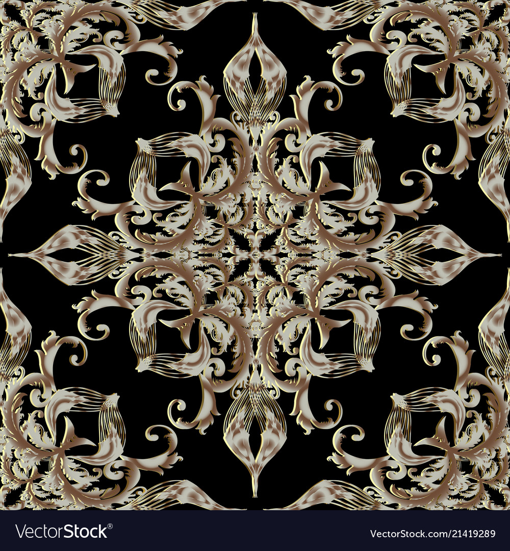 Gold 3d baroque seamless pattern