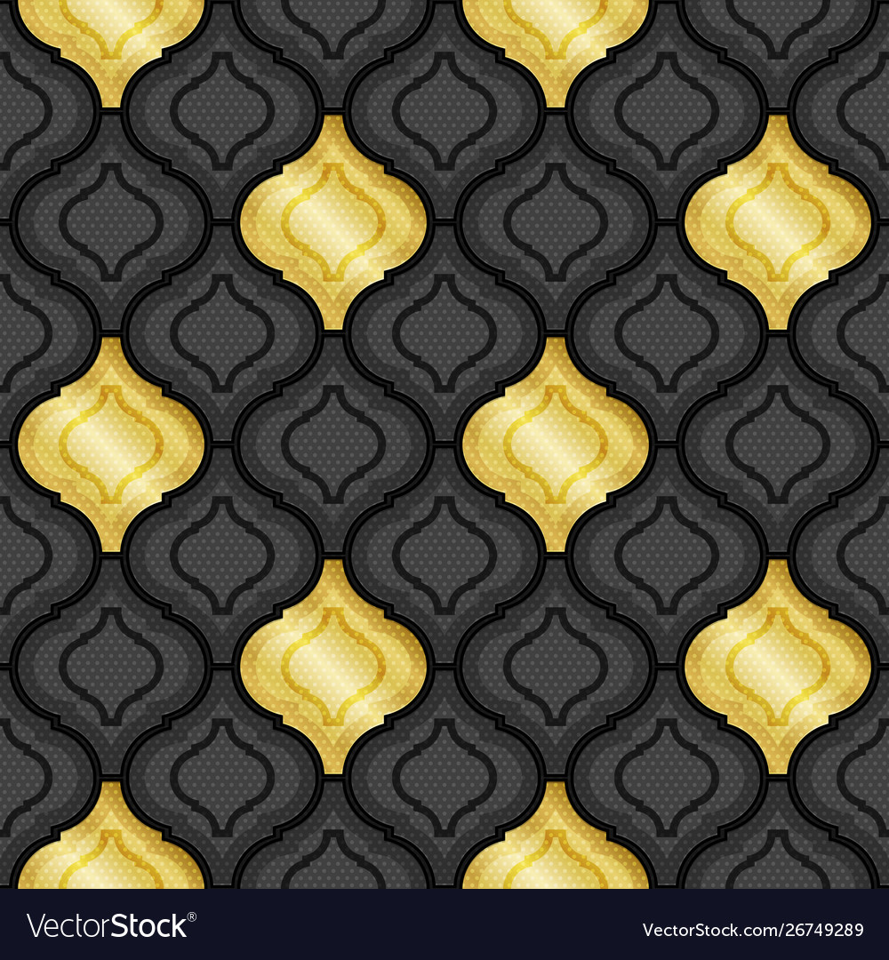 Gold and black abstract tiles background