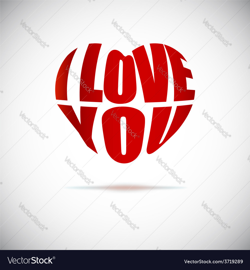 Heart formed from I love you text