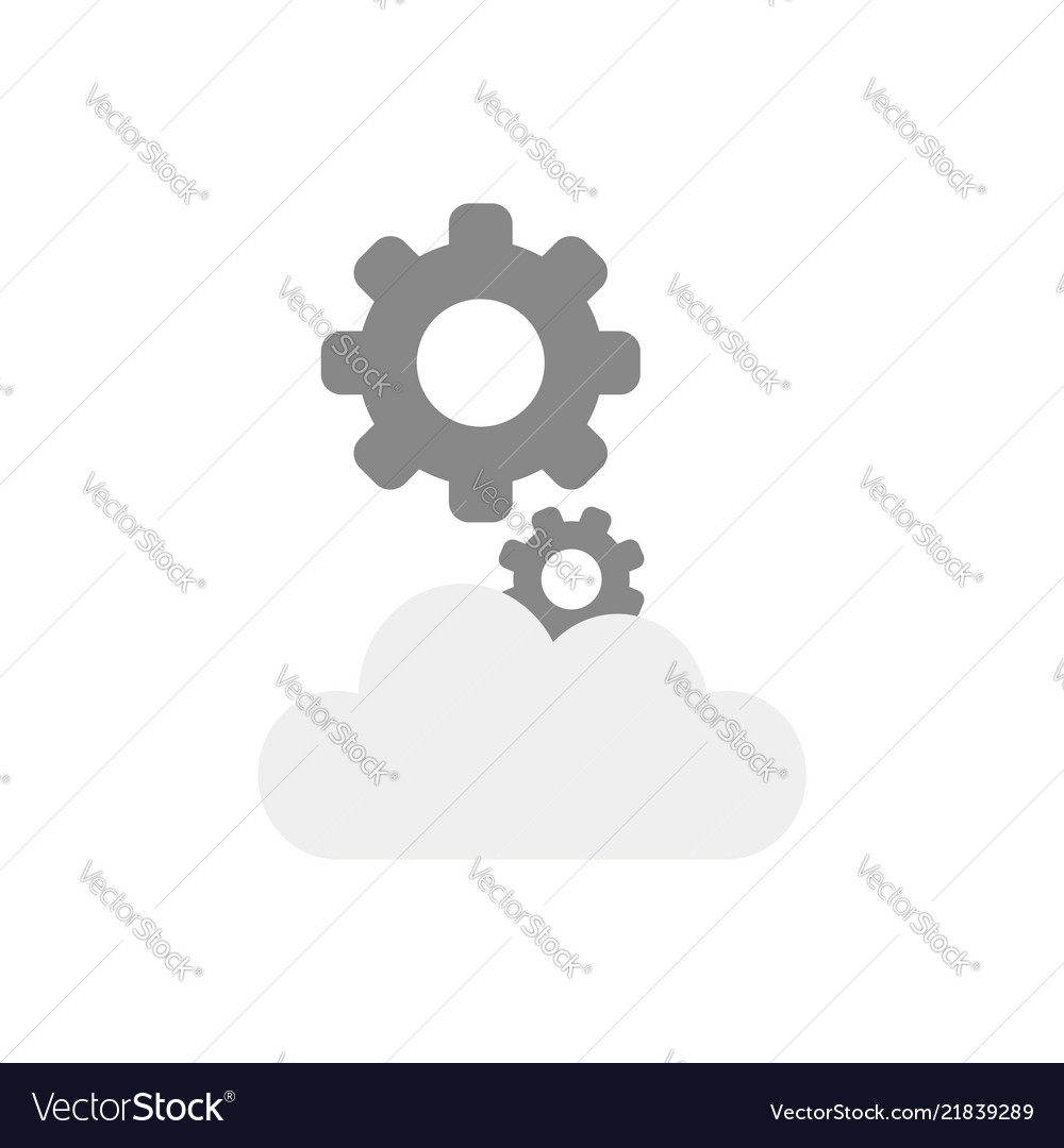 Icon concept of gears on cloud