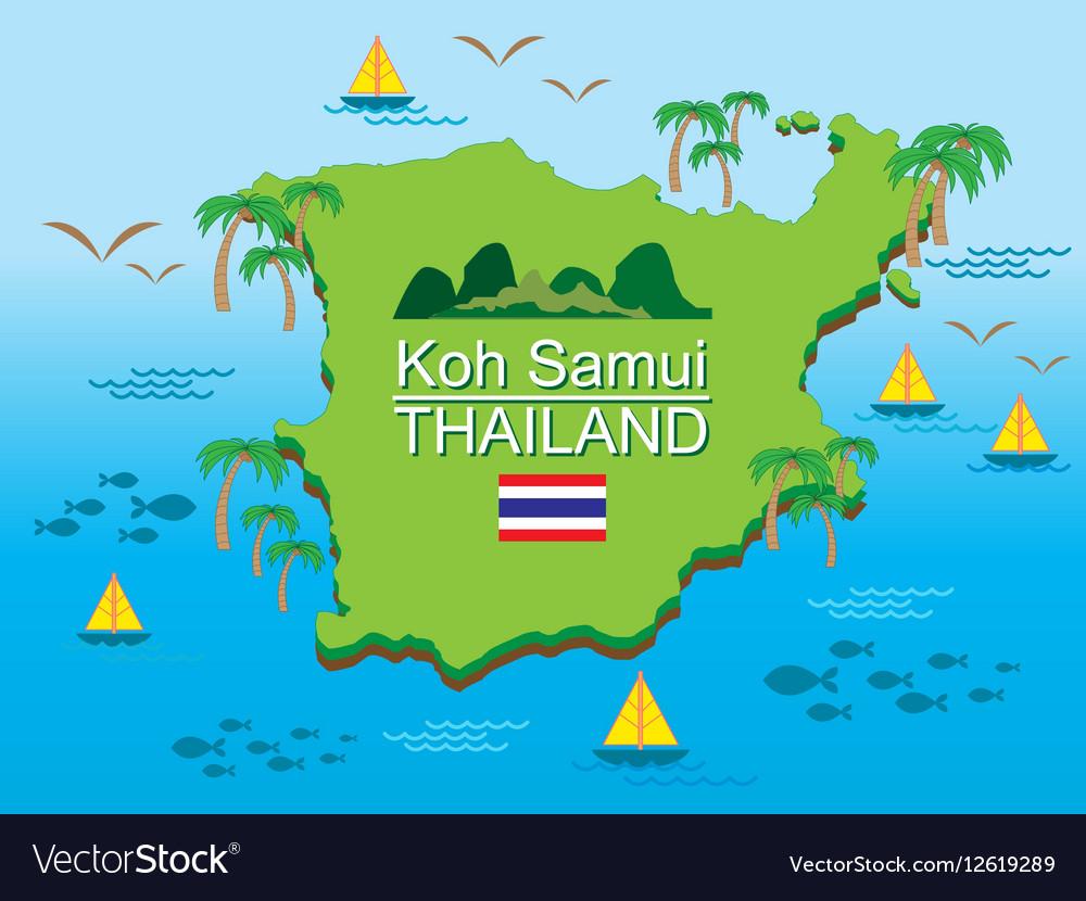 Koh Samui Island Thailand Royalty Free Vector Image