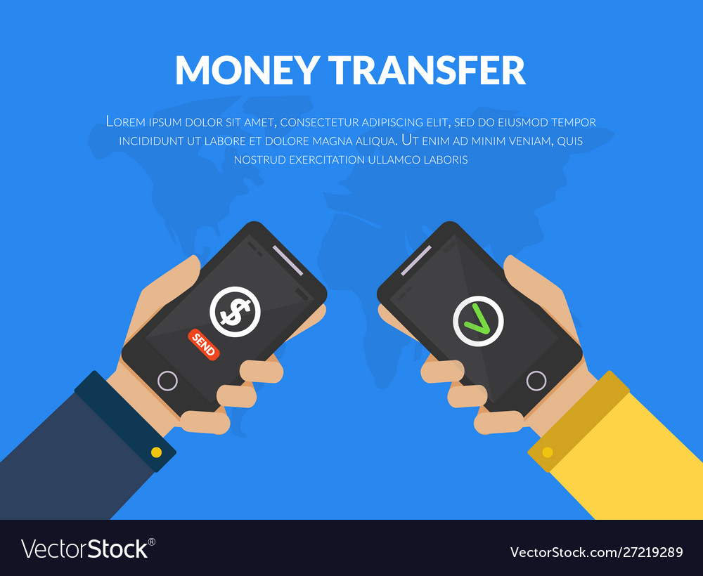 Money transfer people sending and receiving money