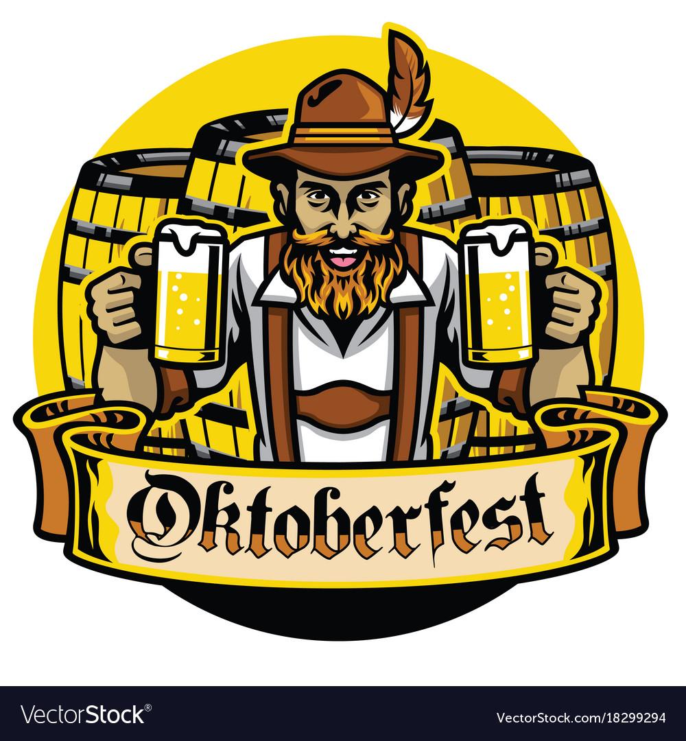 Bearded bavarian man with beer barrel vector