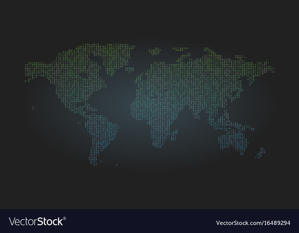 Binary code world map background zero and one Vector Image