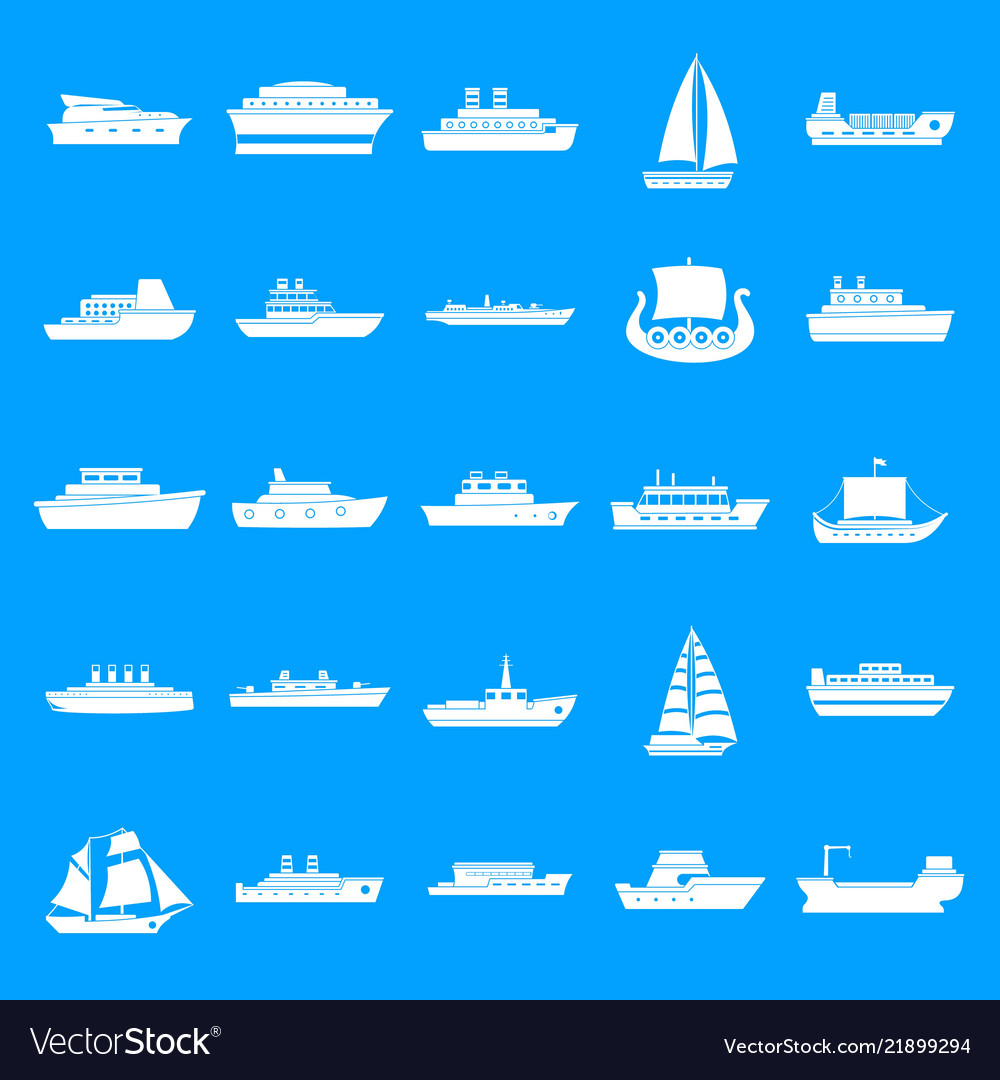 Boat icons set simple style