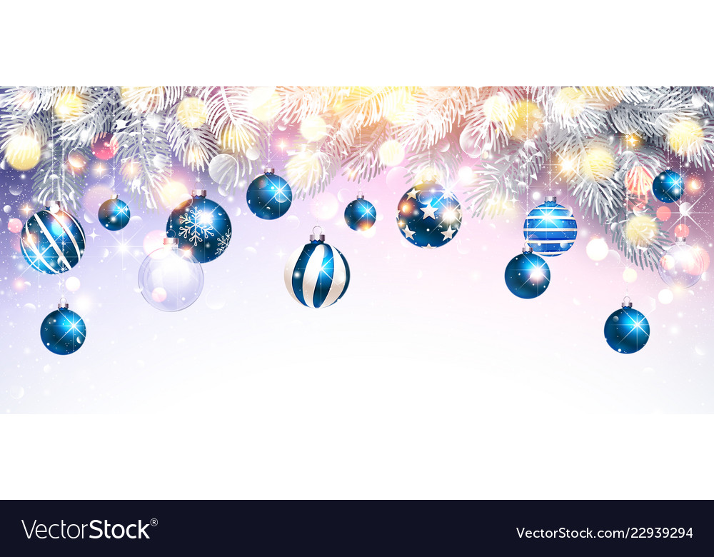 Christmas decorations with blue balls and fir