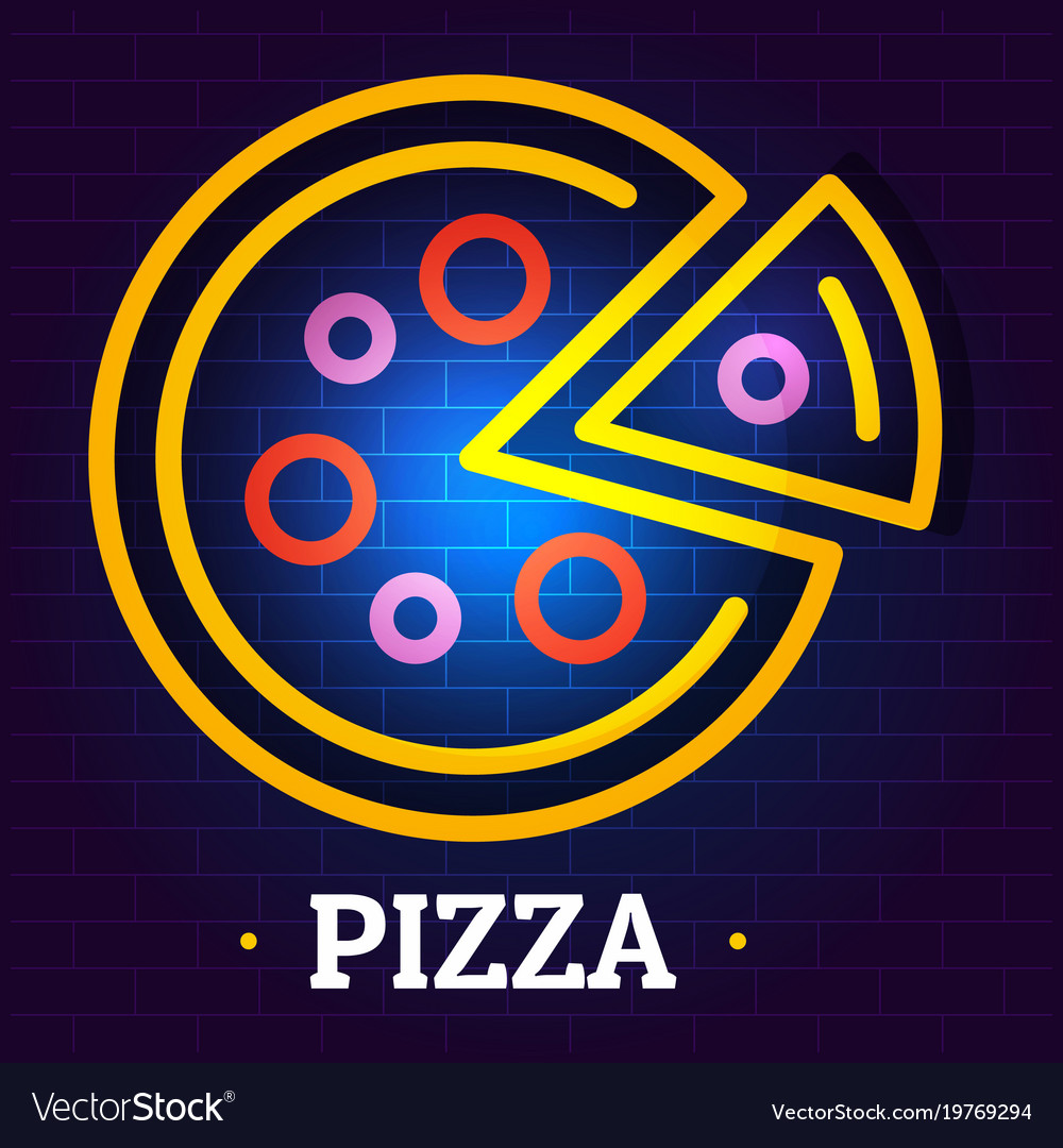 Round pizza logo flat style