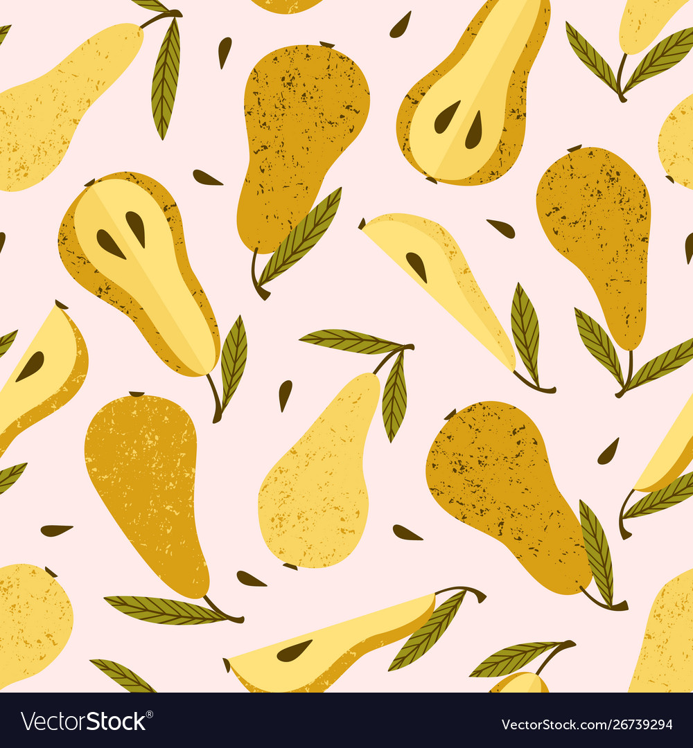 Seamless pattern with pears trendy hand