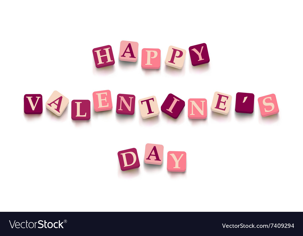 Words Happy Valentine Day Royalty Free Vector Image