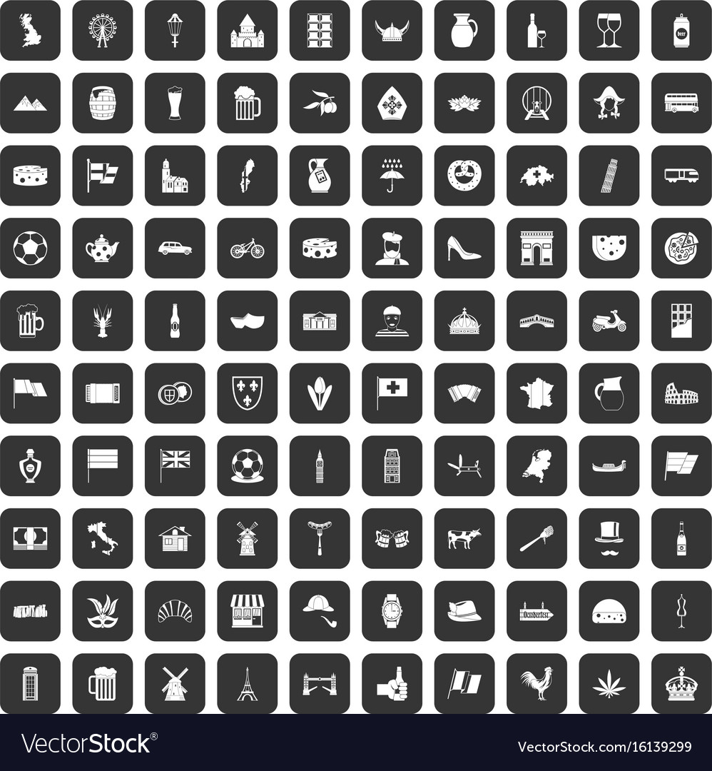 100 europe countries icons set black