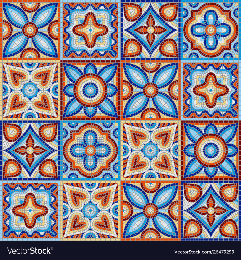 Ancient mosaic ceramic tile pattern