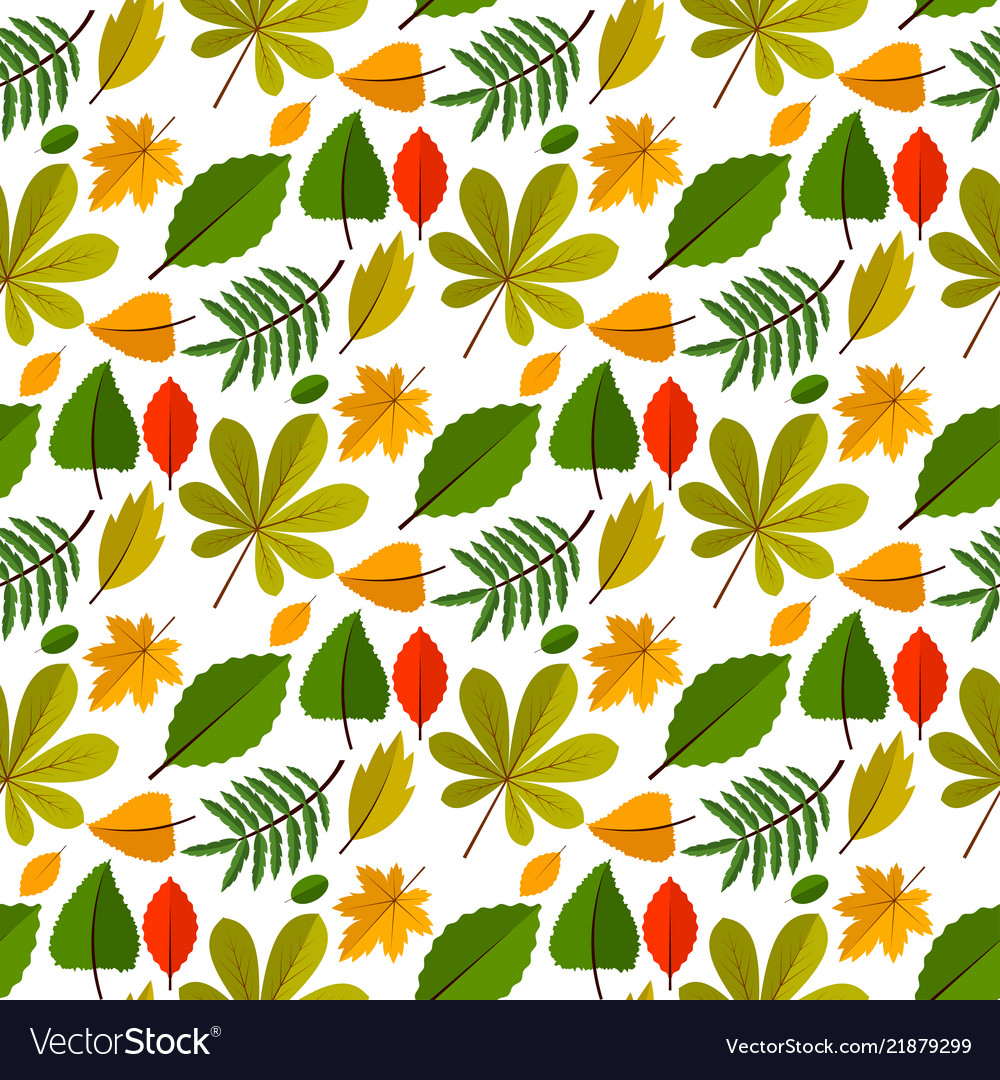 Autumn oak leaves seamless pattern nature
