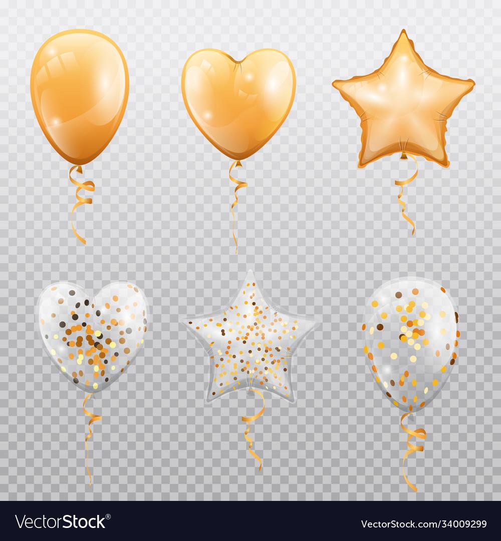 Balloons heart ball or star shape isolated