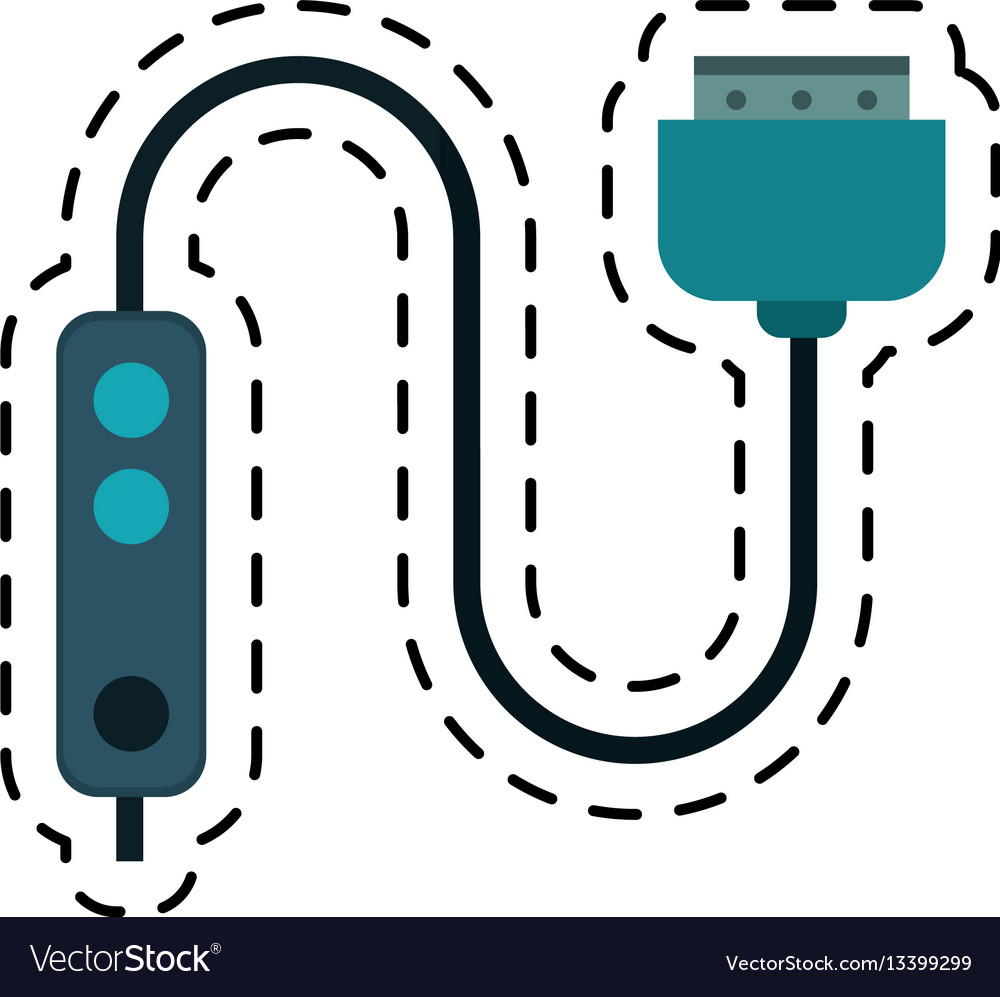 Cartoon computer cable connection plug vector image