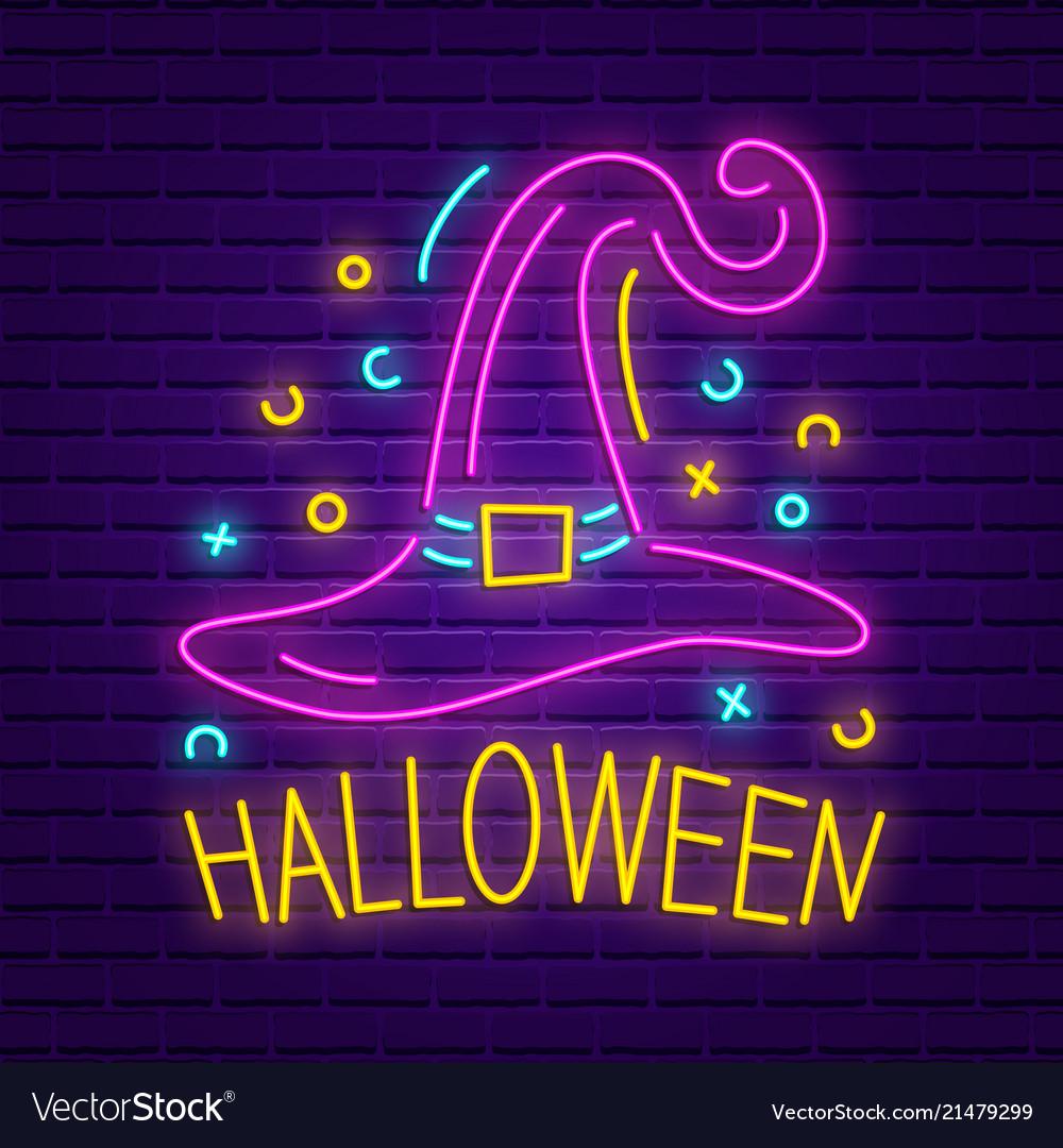 Happy halloween neon sign bright light banner