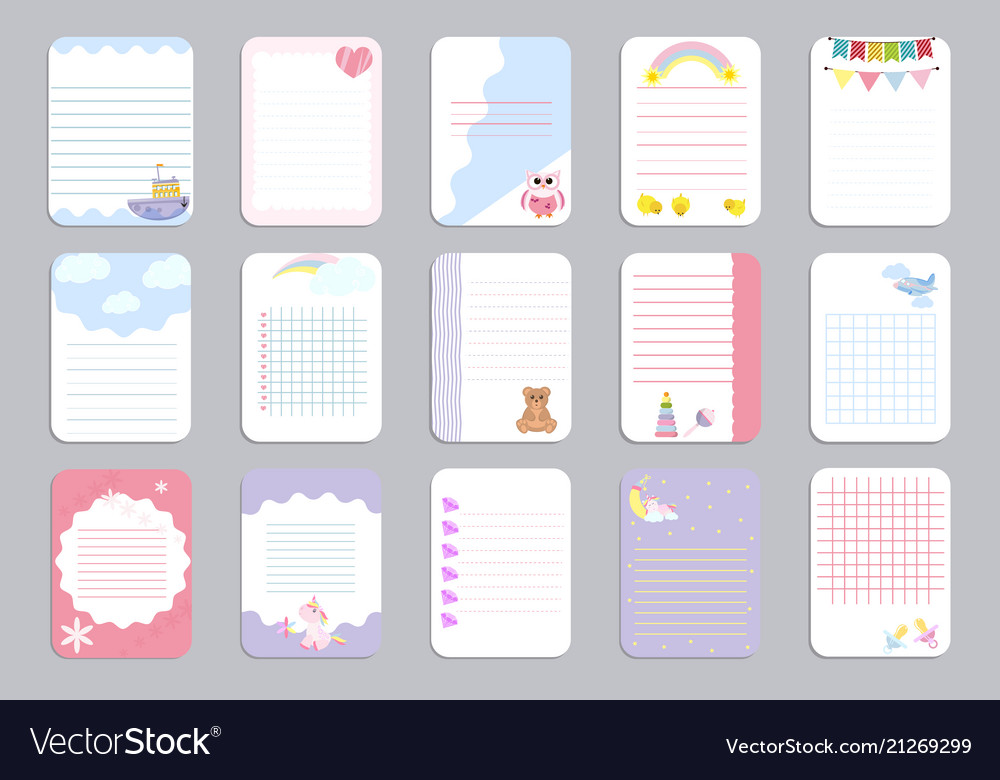 Kids notebook page template cards notes