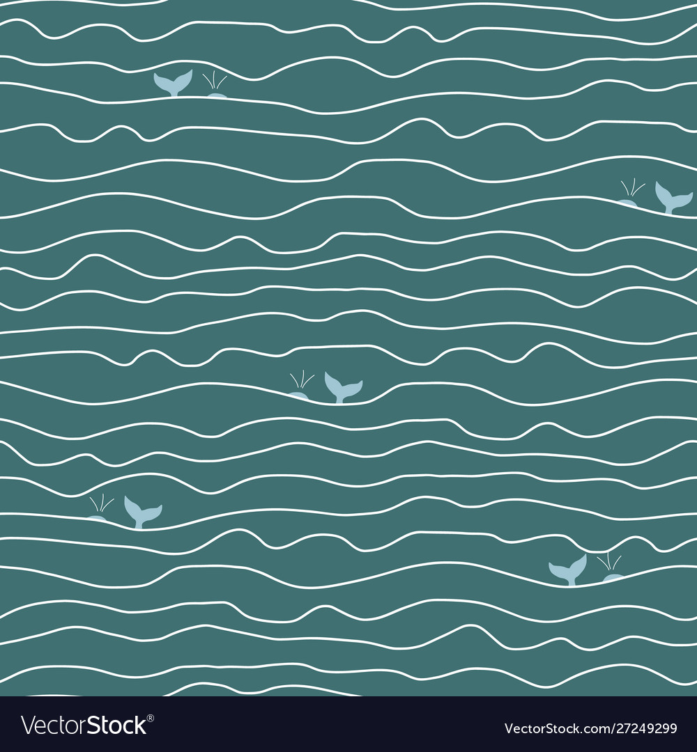 Ocean abstract waves and whales seamless