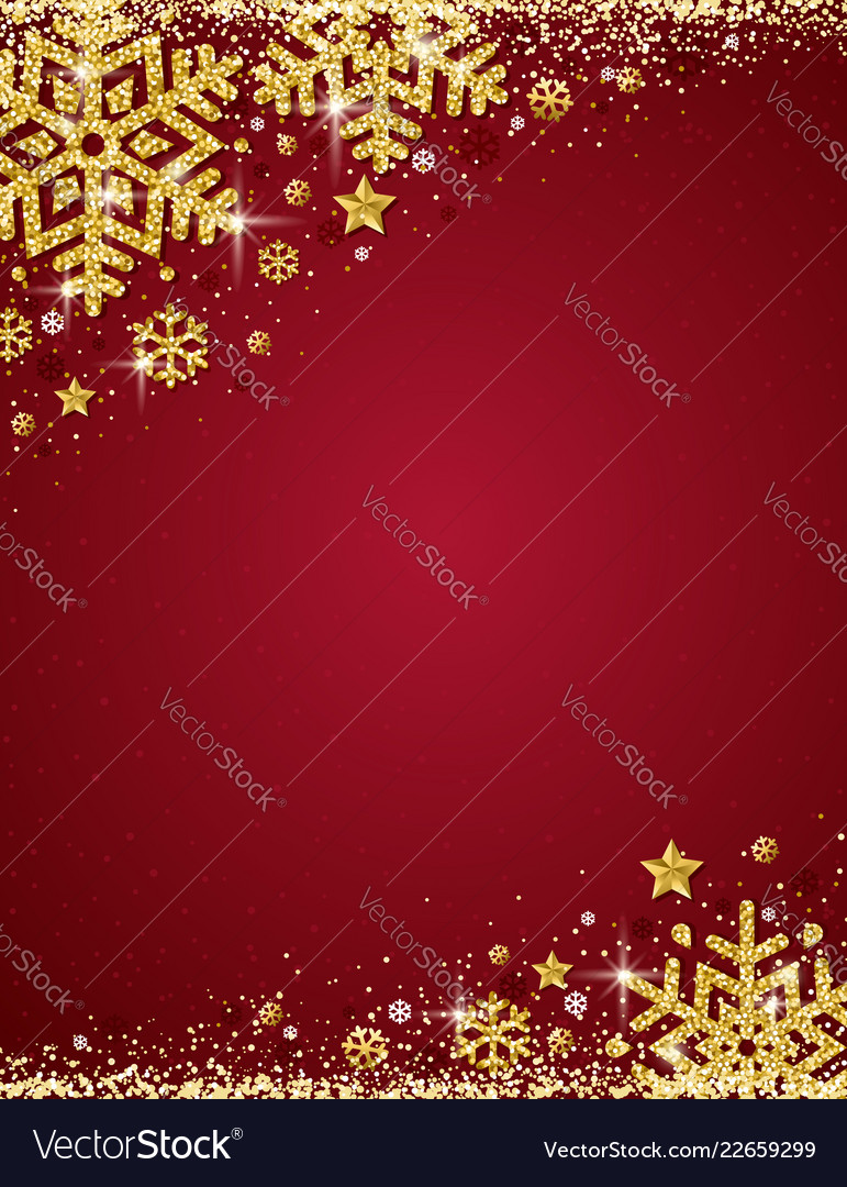 Red Christmas Background.Red Christmas Background With Frame Of Gold