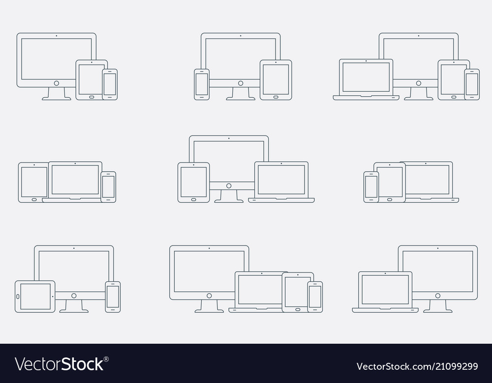 Set of outline device icons responsive
